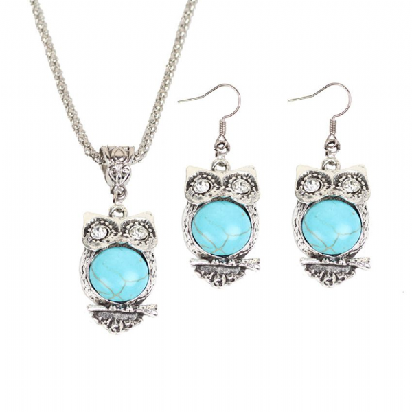 Turquoise Owl Necklace and Earrings Set